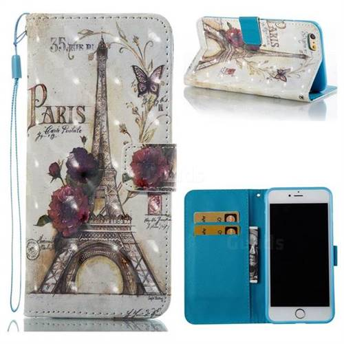 Flower Eiffel Tower 3D Painted Leather Wallet Case for iPhone 6s Plus / 6 Plus 6P(5.5 inch)