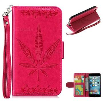 Intricate Embossing Maple Leather Wallet Case for iPhone 6s Plus / 6 Plus 6P(5.5 inch) - Rose