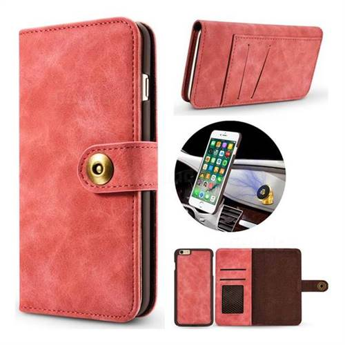 Luxury Vintage Split Separated Leather Wallet Case for iPhone 6s Plus / 6 Plus 6P(5.5 inch) - Carmine