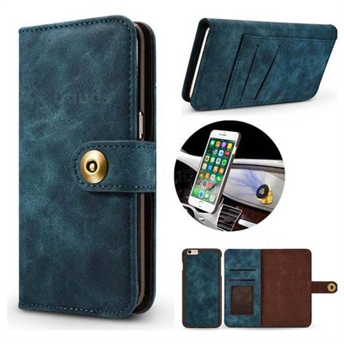 Luxury Vintage Split Separated Leather Wallet Case for iPhone 6s Plus / 6 Plus 6P(5.5 inch) - Navy Blue