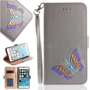 Imprint Embossing Butterfly Leather Wallet Case for iPhone 6s Plus / 6 Plus 6P(5.5 inch) - Grey