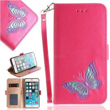 Imprint Embossing Butterfly Leather Wallet Case for iPhone 6s Plus / 6 Plus 6P(5.5 inch) - Rose Red