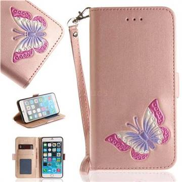 Imprint Embossing Butterfly Leather Wallet Case for iPhone 6s Plus / 6 Plus 6P(5.5 inch) - Rose Gold