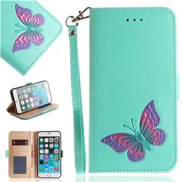Imprint Embossing Butterfly Leather Wallet Case for iPhone 6s Plus / 6 Plus 6P(5.5 inch) - Mint Green