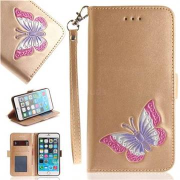 Imprint Embossing Butterfly Leather Wallet Case for iPhone 6s Plus / 6 Plus 6P(5.5 inch) - Golden