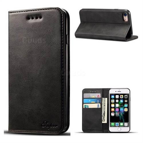 Suteni Simple Style Calf Stripe Leather Wallet Phone Case for iPhone 6s Plus / 6 Plus 6P(5.5 inch) - Black