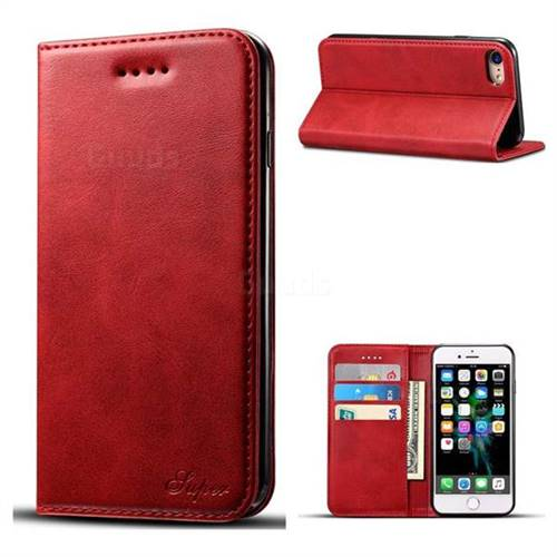Suteni Simple Style Calf Stripe Leather Wallet Phone Case for iPhone 6s Plus / 6 Plus 6P(5.5 inch) - Red