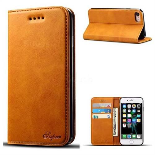Suteni Simple Style Calf Stripe Leather Wallet Phone Case for iPhone 6s Plus / 6 Plus 6P(5.5 inch) - Khaki