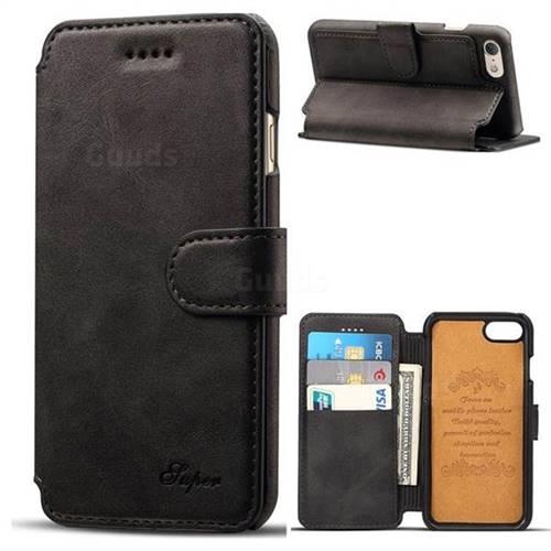 Suteni Calf Stripe Leather Wallet Flip Phone Case for iPhone 6s Plus / 6 Plus 6P(5.5 inch) - Black