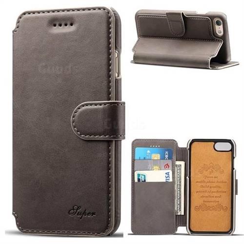 Suteni Calf Stripe Leather Wallet Flip Phone Case for iPhone 6s Plus / 6 Plus 6P(5.5 inch) - Gray