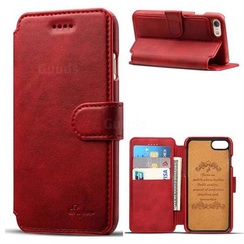 Suteni Calf Stripe Leather Wallet Flip Phone Case for iPhone 6s Plus / 6 Plus 6P(5.5 inch) - Red
