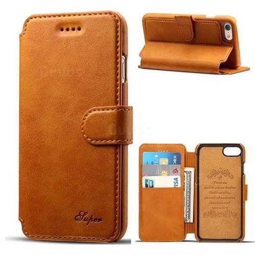 Suteni Calf Stripe Leather Wallet Flip Phone Case for iPhone 6s Plus / 6 Plus 6P(5.5 inch) - Khaki