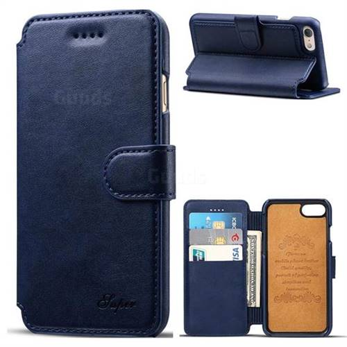 Suteni Calf Stripe Leather Wallet Flip Phone Case for iPhone 6s Plus / 6 Plus 6P(5.5 inch) - Blue