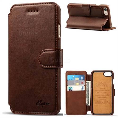 Suteni Calf Stripe Leather Wallet Flip Phone Case for iPhone 6s Plus / 6 Plus 6P(5.5 inch) - Brown