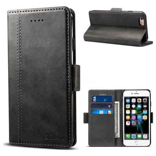 Suteni Calf Stripe Dual Color Leather Wallet Flip Case for iPhone 6s Plus / 6 Plus 6P(5.5 inch) - Black