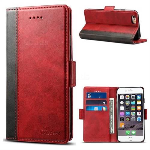 Suteni Calf Stripe Dual Color Leather Wallet Flip Case for iPhone 6s Plus / 6 Plus 6P(5.5 inch) - Red