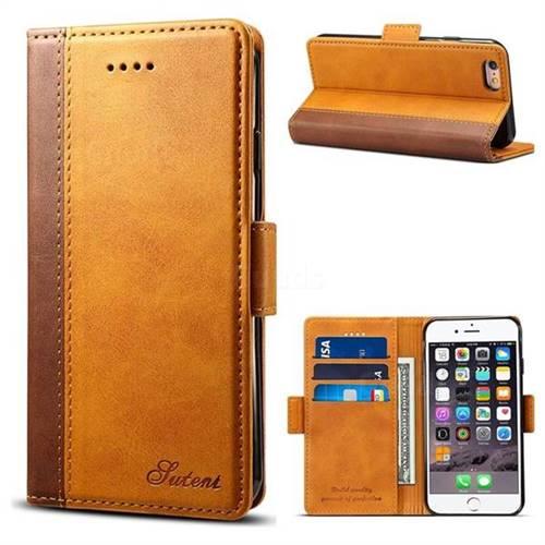 Suteni Calf Stripe Dual Color Leather Wallet Flip Case for iPhone 6s Plus / 6 Plus 6P(5.5 inch) - Khaki