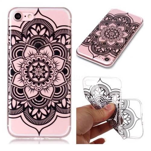Black Mandala Flower Super Clear Soft TPU Back Cover for iPhone 8 / 7 (4.7 inch)