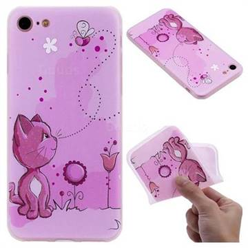Cat and Bee 3D Relief Matte Soft TPU Back Cover for iPhone 8 / 7 (4.7 inch)