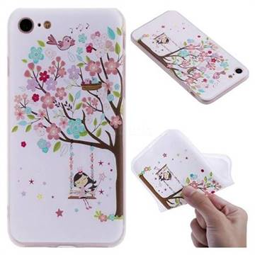 Tree and Girl 3D Relief Matte Soft TPU Back Cover for iPhone 8 / 7 (4.7 inch)