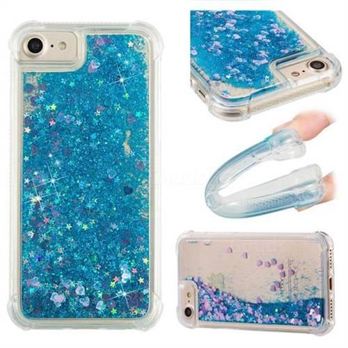 Dynamic Liquid Glitter Sand Quicksand TPU Case for iPhone 8 / 7 (4.7 inch) - Blue Love Heart