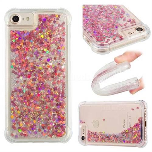 Dynamic Liquid Glitter Sand Quicksand TPU Case for iPhone 8 / 7 (4.7 inch) - Rose Gold Love Heart