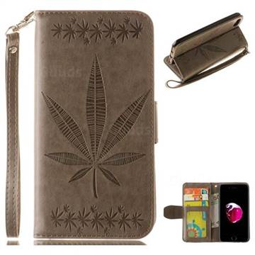 Intricate Embossing Maple Leather Wallet Case for iPhone 8 / 7 (4.7 inch) - Gray