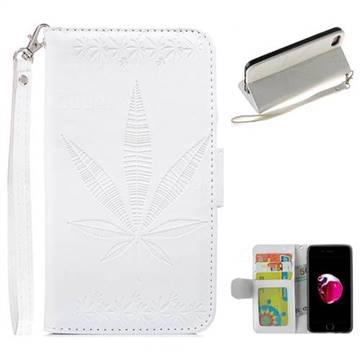 Intricate Embossing Maple Leather Wallet Case for iPhone 8 / 7 (4.7 inch) - White