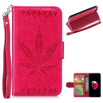 Intricate Embossing Maple Leather Wallet Case for iPhone 8 / 7 (4.7 inch) - Rose