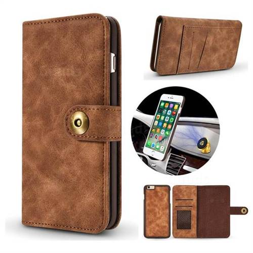 Luxury Vintage Split Separated Leather Wallet Case for iPhone 8 / 7 (4.7 inch) - Brown