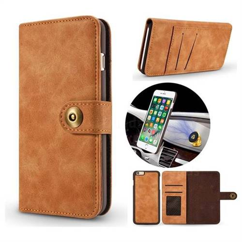 Luxury Vintage Split Separated Leather Wallet Case for iPhone 8 / 7 (4.7 inch) - Khaki