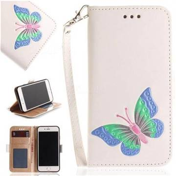 Imprint Embossing Butterfly Leather Wallet Case for iPhone 8 / 7 (4.7 inch) - White