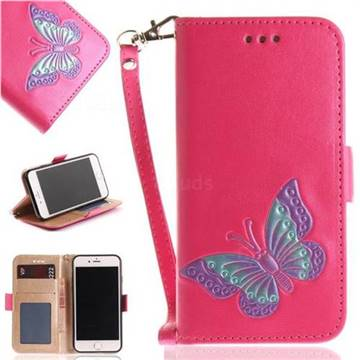 Imprint Embossing Butterfly Leather Wallet Case for iPhone 8 / 7 (4.7 inch) - Rose Red