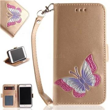 Imprint Embossing Butterfly Leather Wallet Case for iPhone 8 / 7 (4.7 inch) - Golden