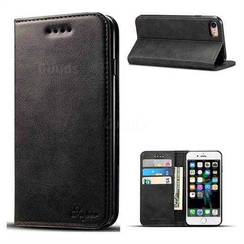 Suteni Simple Style Calf Stripe Leather Wallet Phone Case for iPhone 8 / 7 (4.7 inch) - Black