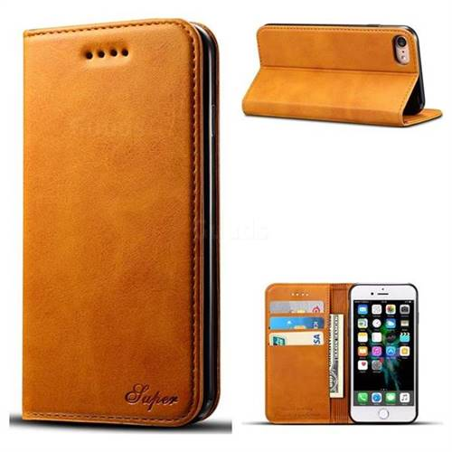 Suteni Simple Style Calf Stripe Leather Wallet Phone Case for iPhone 8 / 7 (4.7 inch) - Khaki