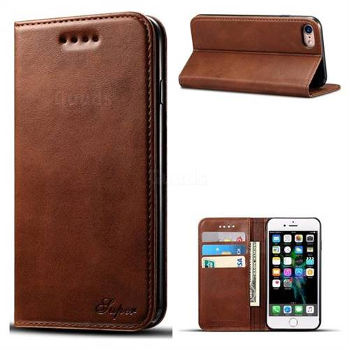 Suteni Simple Style Calf Stripe Leather Wallet Phone Case for iPhone 8 / 7 (4.7 inch) - Brown