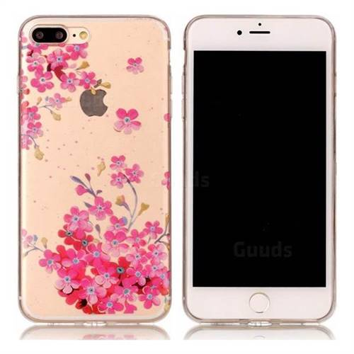 Plum Blossom Bloom Super Clear Soft TPU Back Cover for iPhone 8 Plus / 7 Plus 8P 7P(5.5 inch)