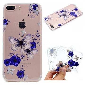 Blue Butterfly Flowers Super Clear Soft TPU Back Cover for iPhone 8 Plus / 7 Plus 7P(5.5 inch)