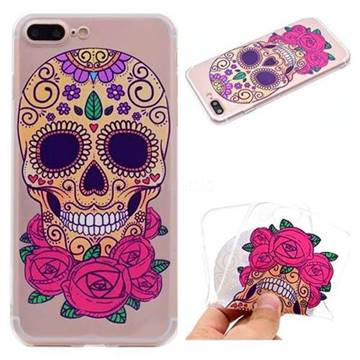 Skeleton Flower Super Clear Soft TPU Back Cover for iPhone 8 Plus / 7 Plus 7P(5.5 inch)