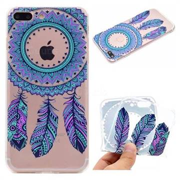 Blue Feather Campanula Super Clear Soft TPU Back Cover for iPhone 8 Plus / 7 Plus 7P(5.5 inch)