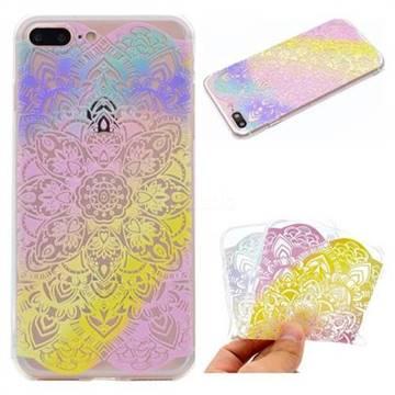 Mandala Rainbow Flower Super Clear Soft TPU Back Cover for iPhone 8 Plus / 7 Plus 7P(5.5 inch)