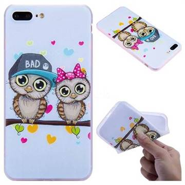 Couple Owls 3D Relief Matte Soft TPU Back Cover for iPhone 8 Plus / 7 Plus 7P(5.5 inch)