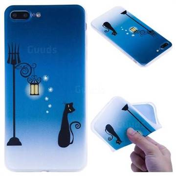 Street Light Cat 3D Relief Matte Soft TPU Back Cover for iPhone 8 Plus / 7 Plus 7P(5.5 inch)