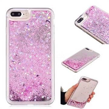 Glitter Sand Mirror Quicksand Dynamic Liquid Star TPU Case for iPhone 8 Plus / 7 Plus 7P(5.5 inch) - Cherry Pink
