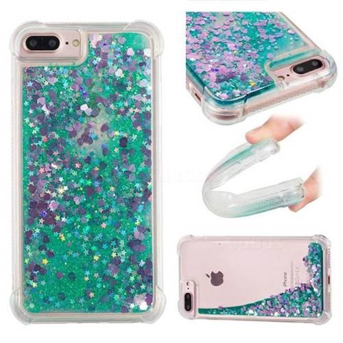 Dynamic Liquid Glitter Sand Quicksand TPU Case for iPhone 8 Plus / 7 Plus 7P(5.5 inch) - Green Love Heart