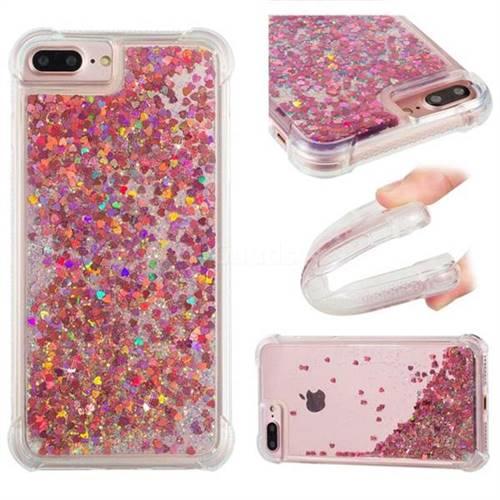 Dynamic Liquid Glitter Sand Quicksand TPU Case for iPhone 8 Plus / 7 Plus 7P(5.5 inch) - Rose Gold Love Heart