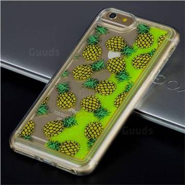 Pineapple Glassy Glitter Quicksand Dynamic Liquid Soft Phone Case for iPhone 8 Plus / 7 Plus 7P(5.5 inch)