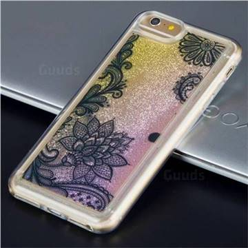 Diagonal Lace Glassy Glitter Quicksand Dynamic Liquid Soft Phone Case for iPhone 8 Plus / 7 Plus 7P(5.5 inch)