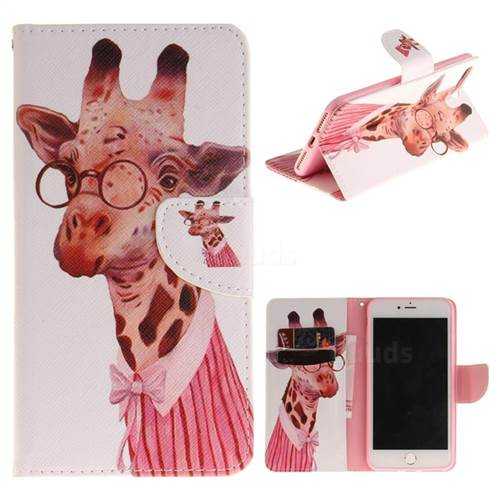 Pink Giraffe PU Leather Wallet Case for iPhone 8 Plus / 7 Plus 8P 7P(5.5 inch)